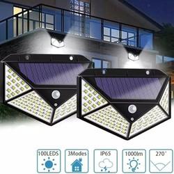 Đèn Năng Lượng Mặt Trời - 100 Bóng LED- Cảm Biến Siêu Sáng 3 Chế Độ Thông Minh