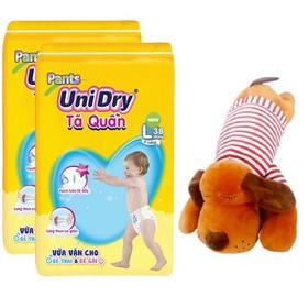 [Tặng 1 thú bông chó mặc áo] Combo 2 gói tã quần Unidry size L38_ size XL34 _ XXL30 - GG3