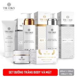 Bộ Truesky VIP03 gồm (1 kem ủ trắng body 100ml & 1 kem body dưỡng trắng 100ml & 1 kem dưỡng trắng da mặt 10g & 1 sữa rửa mặt 60ml)
