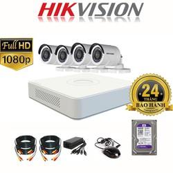 Bộ Camera giám sát HIKVISION 4 Mắt FULL HD 1080P - Đủ Phụ kiện - Tự lắp đặt [ĐƯỢC KIỂM HÀNG] [ĐƯỢC KIỂM HÀNG]