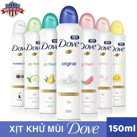 [nhập SD9P6T giảm 20K] Combo 2 Chai Xịt khử mùi Dove nhập khẩu từ Mỹ 150ml - combo 2 Chai