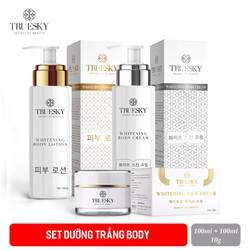 Bộ tắm trắng body cấp tốc và dưỡng trắng da mặt Truesky gồm (1 kem ủ trắng body 100ml + 1 kem body dưỡng trắng 100ml + 1 kem trắng da mặt 10g)