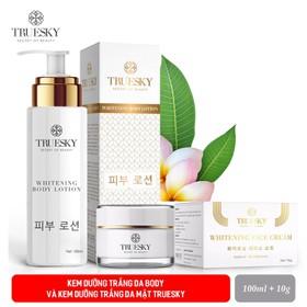 Bộ sản phẩm dưỡng trắng da mặt và body Truesky VIP01 gồm (1 kem dưỡng trắng da mặt 10g & 1 kem body dưỡng trắng 100ml) - 1 KEM DƯỠNG BODY 100ML + 1 KEM FACE 10G