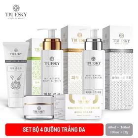 Bộ dưỡng trắng Truesky VIP03 gồm (1 kem ủ trắng body 100ml & 1 kem body dưỡng trắng 100ml & 1 kem dưỡng trắng da mặt 10g & 1 sữa rửa mặt 60ml) - Ủ 100ML+DƯỠNG 100ML+SRM NHA ĐAM 60ML+FACE 10G