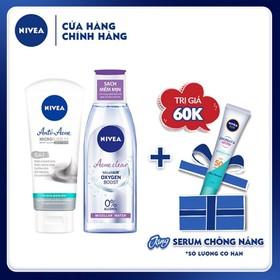 [Tinh chất chống nắng NIVEA dưỡng trắng & kiểm soát dầu 15ml] Combo Sữa Rửa Mặt Khoáng Chất Ngừa Mụn và Sạch Cặn Trang Điểm và nước tẩy trang Nivea - TUNI0203CB