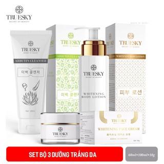 Bộ sản phẩm dưỡng trắng Truesky VIP04 gồm (1 kem dưỡng trắng da mặt 10g + 1 sữa rửa mặt nha đam 60ml + 1 kem dưỡng trắng toàn thân 100ml) - DƯỠNG BODY 100ML+KEM FACE 10G+SRM NHA ĐAM 60 thumbnail