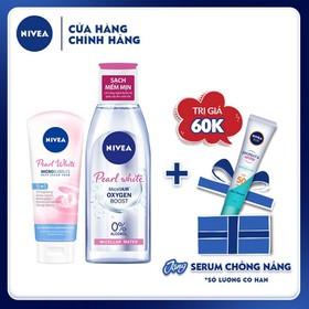 [Tinh chất chống nắng NIVEA dưỡng trắng & kiểm soát dầu 15ml] Combo Nước Tẩy Trang Làm Sáng Da và Sữa rửa mặt trắng da ngọc trai dành cho nữ Nivea - TUNI0210CB