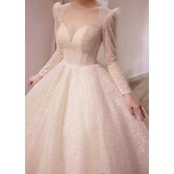 áo cưới tay trắng dài kim tuyến bao xinh đep