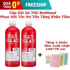 [Free Ship] Cặp dầu gội và xả TIGI Beb head phục hồi tóc hư tổn tặng khăn tắm xuất nhật - TIGI Beb head