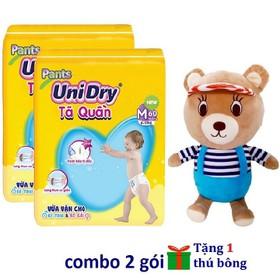 [Tặng 1 thú bông con gấu áo sọc] Combo 2 gói tã quần Unidry size M60 - size L54 - size XXL44 - 2G-1