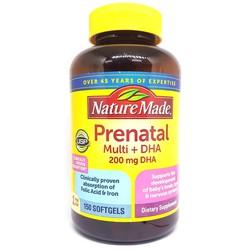 Vitamin tổng hợp cho bà bầu Prenatal Multi DHA 200mg chai 150 viên hãng Nature Made của Mỹ