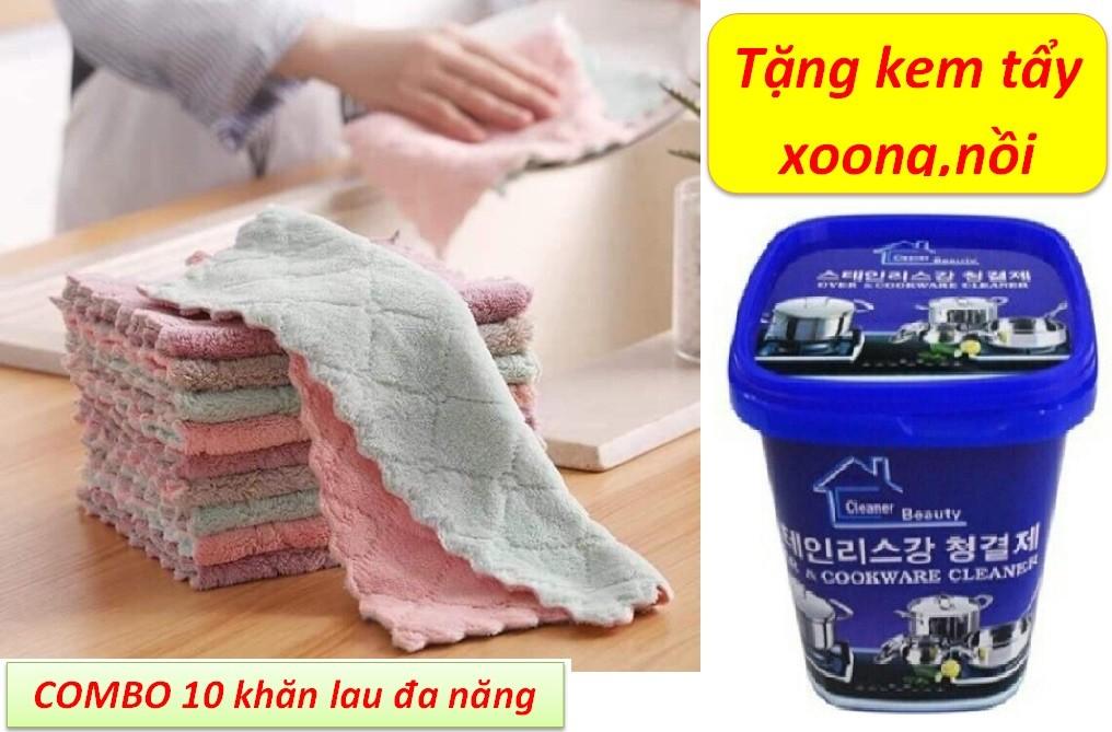 Combo 10 khăn lau đa năng + Tặng kèm kem tẩy xoong nồi thần thánh - 0230 thumbnail