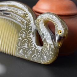 Lược sừng Thiên Nga tỉa khắc đẹp (Size: L-15cm)  [COH111] Chăm sóc tóc /Horn Comb of HAHANCO