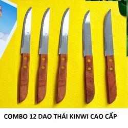 [khách nhớ nhập SD9RE3 giảm 15k] HỘP 12 DAO cắt trái cây cán gỗ KINWI cao cấp - Siêu bén