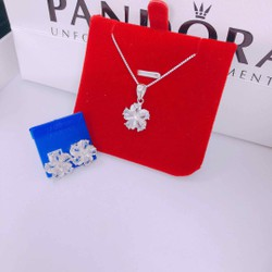 Bộ trang sức bạc ta 2 món dây chuyền bông tai đính đá lấp lánh mẫu mới trẻ trung [ QNJ – Cam kết chuẩn bạc ta sáng đẹp, giao hàng đúng sản phẩm, đúng chất lượng]
