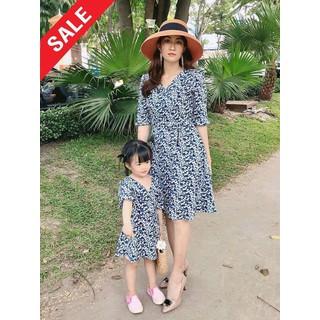 Set đầm mẹ và bé xanh hoa nhí tay lở - ĐỦ SIZE - HÌNH CHỤP THẬT - MBXANH thumbnail
