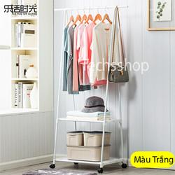 Giá treo quần áo hình tam giác 2 tầng có bánh xe đa năng trong phòng ngủ - Kệ chữ A treo quần áo