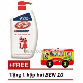 [ Mua 1 tặng 1] Tặng hộp bút thiếc 2 tầng khi mua Sữa tắm Lifebuoy diệt khuẩn Bảo vệ vượt trội 850g - STL850
