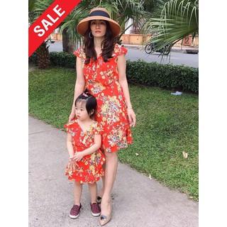 Đầm mẹ và bé hoa vàng tay cánh tiên-ĐỦ SIZE-HÌNH CHỤP THẬT - MBHOAVANG thumbnail