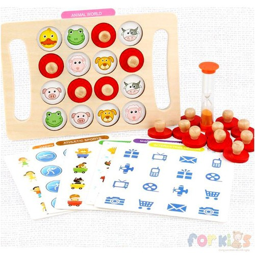 Tìm hình giống nhau cho bé, Đồ chơi gỗ luyện trí nhớ.