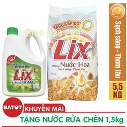 [Tặng Nước rửa chén 1,4kg] Bột giặt Lix Extra hương Nước Hoa 5.5kg