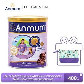 [Tặng 1 ví cầm tay Anmum] Lon Sữa bột Anmum Materna hương Socola 400g - TUANM0009CB