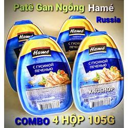 COMBO 4 HỘP PATÊ GAN NGỖNG HAMÉ 105G ( ẨM THỰC CAO CẤP ) Date 2023 Nhập Khẩu RUSSIA