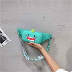 Túi Bao Tử Trẻ Em khủng long xanh Silicon tuí nữ đeo chéo