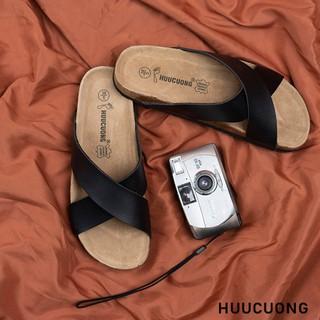 Dép quai chéo đen HuuCuong - 2156 thumbnail