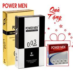 Bao cao su Powermen 0.03 bộ 24 bcs Tặng 1 hộp 3 bao
