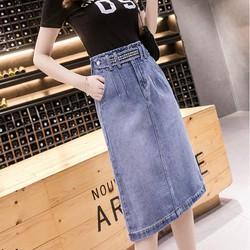 [TRỢ SHIP_CHẤT LƯỢNG] Chân váy jean ngang gối 05 - Chân váy nữ cao cấp, vải jeans dày không co dãn, có túi