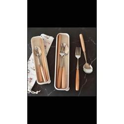 bộ 3 muỗng nĩa đũa cán gỗ kèm hộp