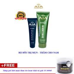Bộ đôi mỹ phẩm chữa Mụn Thâm, Mờ Sẹo, Ngăn nhờn dành cho Nam AIA COSMETICS + Tặng gel hút mụn