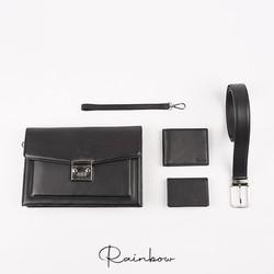 Bộ quà tặng clutch cầm tay, ví da + thắt lưng cao cấp Rainbow RBMLGS 005 BLK