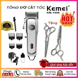Tông đơ cắt tóc Kemei 1998 tặng 2 kéo cắt tỉa tóc