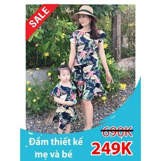 Đầm đôi mẹ bé cao cấp hoa lá - Đầm đôi mẹ bé cao cấp hoa lá thumbnail