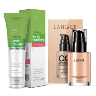 Bộ Tẩy Tế Bào Chết Da Mặt 100ml và CC Cream Trang Điểm Collagen Đẹp Da Chống Nắng 30ml LANGCE - LA565-392 thumbnail