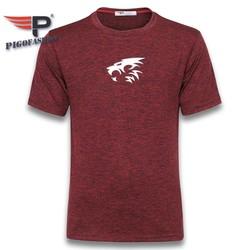Áo thun nam cổ tròn tập gym thể thao big size GM06 in logo sư tử PiGoFashion màu đỏ