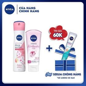 Combo Xịt ngăn mùi hương hoa Sakura 150ml & Sữa rửa mặt tạo bọt chiết xuất hoa hồng Hokkaido Nivea 100g - TUNI0154CB