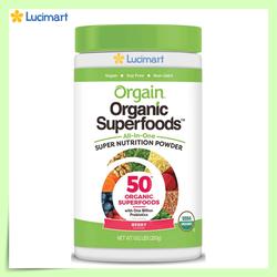 [Hàng Mỹ] Bột siêu thực phẩm hữu cơ Orgain Organic Superfoods, hương Berry, 280g