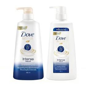 Combo Dầu gội DOVE và Dầu xã - Phục hồi tóc hư tổn - Hàng Thái - 450ml/chai - Combo gội xã Dove
