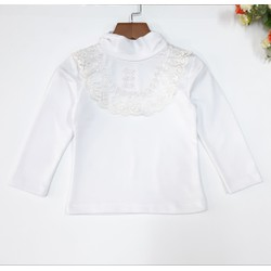 DG49-AT-03- Áo tay dài bé gái, cổ trụ có ren hoa, chất cotton dày dặn, size bé 10-12kg, made in Việt Nam