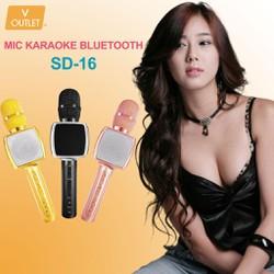Mic Hát Karaoke Bluetooth Không Dây SD-16 - Kèm Loa- Âm vang - Ấm - Tặng 1 dây sạc nhanh 25K - mic hát karaoke cầm tay mini - micro hát trên xe hơi - mic hát karaoke hay nhất hiện nay.