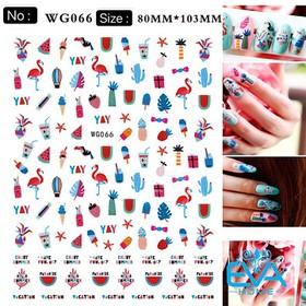 Miếng Dán Móng Tay 3D Nail Sticker Hoạ Tiết Chủ Đề Mùa Hè Với Trái Cây Nhiệt Đới Và Hồng Hạc WG066 - 0010002828