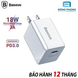 Củ Sạc Nhanh Baseus Quick Charge 3.0 PD 18W TC-075PD Chính Hãng