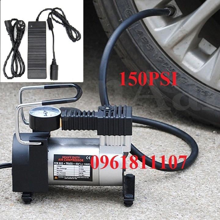 bơm hơi ôtô xe máy 150PSI + Bộ chuyen dien 220V sang 12V10A