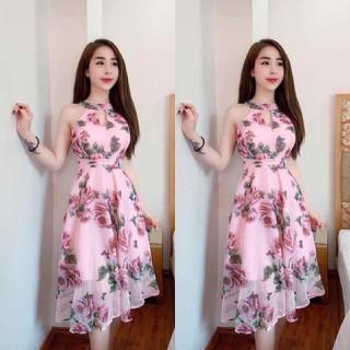 Đầm Voan Hoa cổ yếm có lớp lót - cổ yếm thumbnail