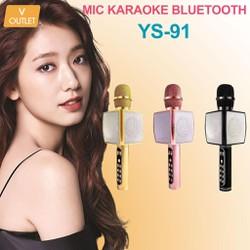 Mic Hát Karaoke Bluetooth Không Dây YS-91 -  Kèm   Loa- Âm vang - Ấm - Tặng 1 dây sạc nhanh 25K - mic hát karaoke cầm tay mini - micro hát trên xe hơi - mic hát karaoke hay nhất hiện nay.