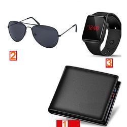 Combo 3 Ví nam thời trang + Kính Nam Phi công + Đồng hồ Led thông minh táo