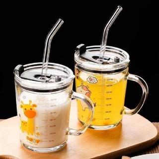 Combo 2 Cốc Thủy Tinh Chia Vạch Tập Uống Sữa Cho Bé Cao Cấp Kèm Ống Nắp Đậy Silicon Và Ống Hút - jAXvJtQUup thumbnail